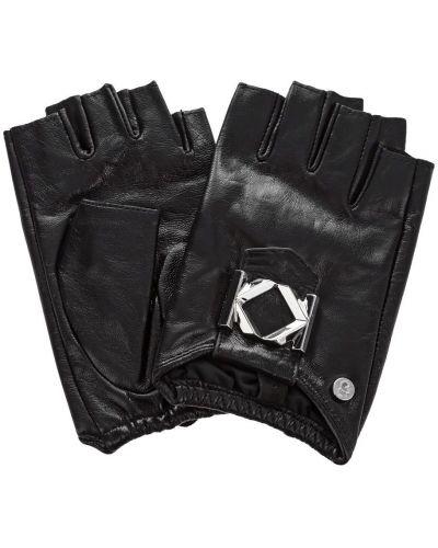 Кожаные черные митенки Karl Lagerfeld