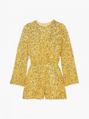 Шифоновый желтый комбинезон на крючках Jenny Packham