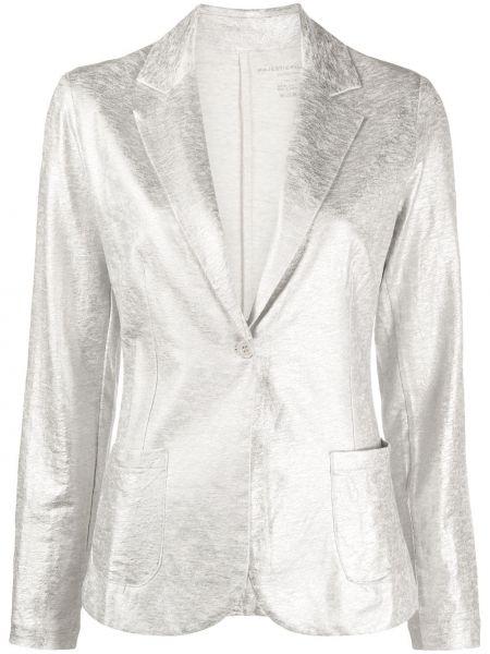 Серебряный однобортный пиджак на пуговицах Majestic Filatures