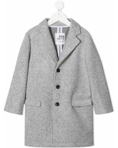 Шерстяное прямое серое пальто классическое на пуговицах Paolo Pecora Kids