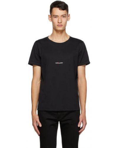 Bawełna bawełna czarny koszula z krótkim rękawem z kołnierzem Saint Laurent