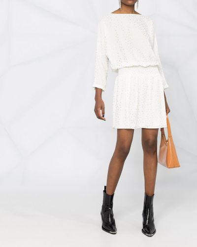 Белое платье мини в горошек с поясом Liu Jo
