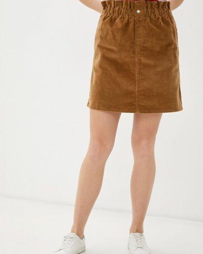 Коричневая прямая юбка карандаш Noisy May
