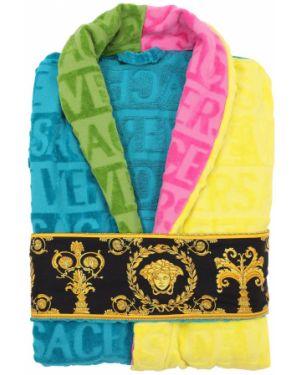 Халат с лацканами с цветочным принтом Versace