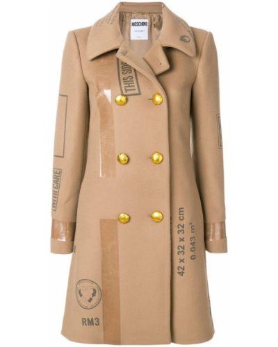 Шерстяное пальто с капюшоном на пуговицах Moschino
