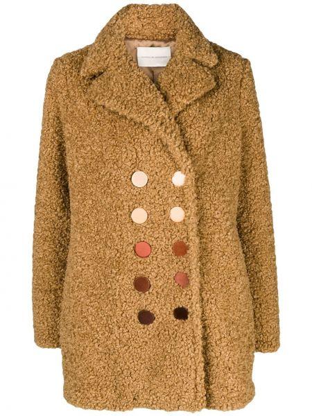 Коричневое пальто двубортное с воротником Marco De Vincenzo