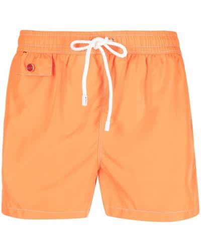 С кулиской оранжевые плавки с карманами Kiton