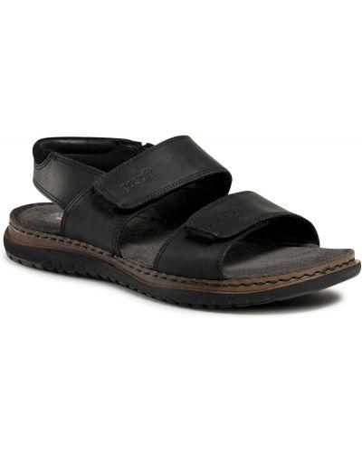 Sandały skórzane - czarne Go Soft