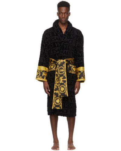Czarny długi szlafrok bawełniany z paskiem Versace