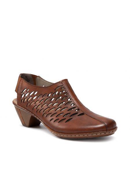 Sandały skórzane - brązowe Rieker