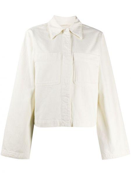 Bawełna jeansy o prostym kroju z kieszeniami z kołnierzem z łatami Lemaire
