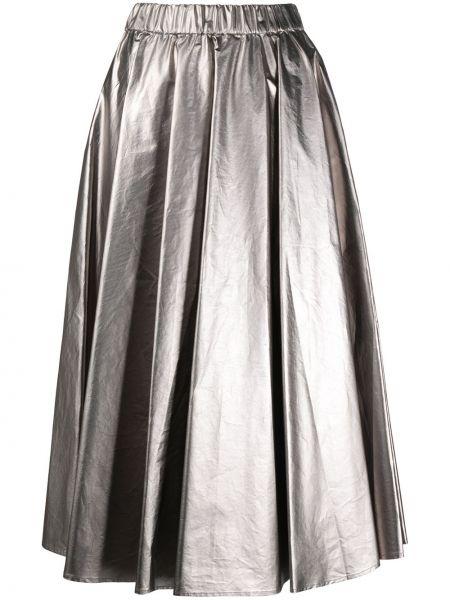 Серебряная хлопковая плиссированная юбка миди Moncler