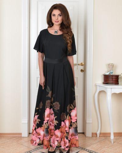 Приталенное с рукавами вечернее платье с поясом Salvi-s