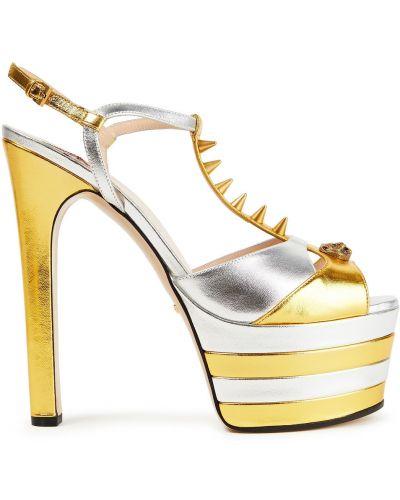 Złote sandały na platformie klamry Gucci