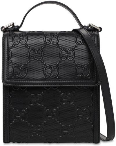 Bawełna skórzany czarny torba crossbody prążkowany Gucci