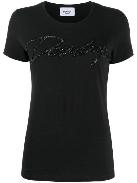 Прямая черная футболка с вырезом Dondup