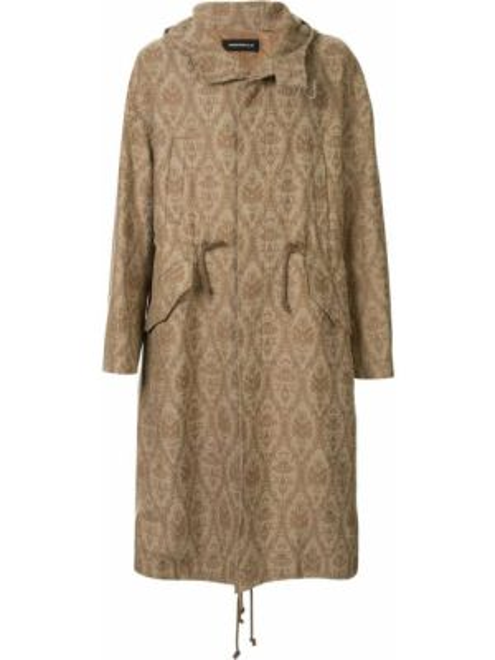 Brązowy płaszcz wełniany z kapturem Undercover