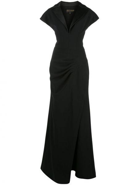 Czarna sukienka z falbanami z jedwabiu Christian Siriano