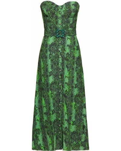 Zielona sukienka midi z wiskozy z paskiem Rotate Birger Christensen