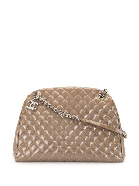 Кожаная коричневая стеганая сумка на плечо на молнии Chanel Pre-owned