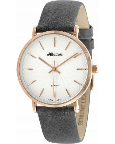 Klasyczny czarny zegarek skórzany Albatross