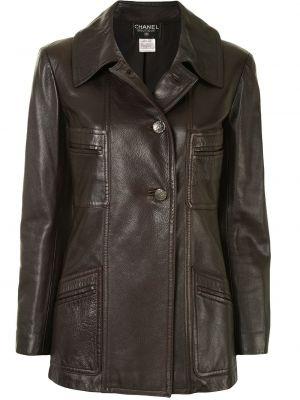Коричневая кожаная куртка с воротником Chanel Pre-owned