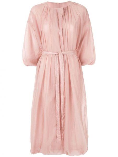 Нейлоновое розовое расклешенное укороченное пальто на пуговицах Blueflag + Kiminori Morishita