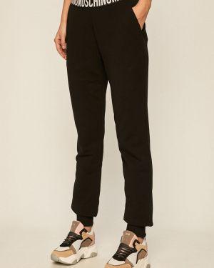 Czarne spodnie bawełniane z printem Moschino Underwear