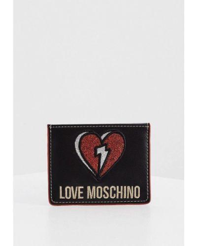 Черная кожаная визитница Love Moschino
