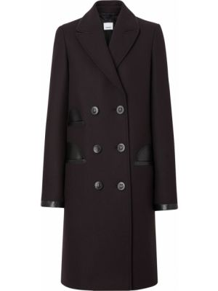 С рукавами черное шерстяное кожаное пальто с лацканами Burberry