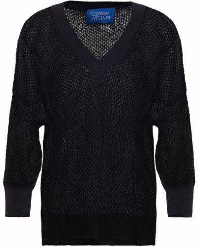 Prążkowany czarny sweter wełniany Simon Miller