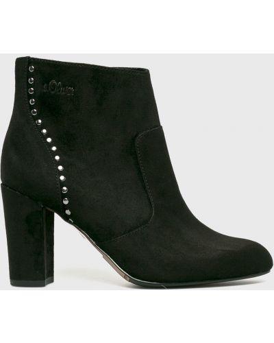 Черные сапоги текстильные S.oliver
