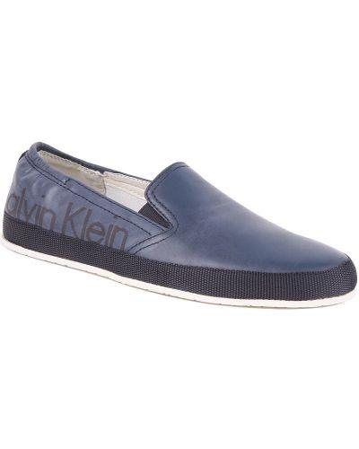 Мокасины кожаные синий Calvin Klein