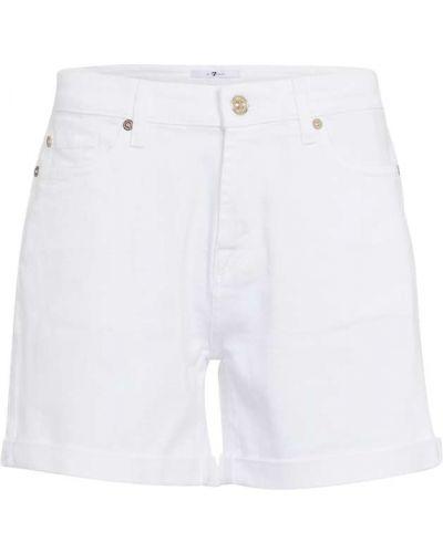 Ватные хлопковые белые джинсовые шорты 7 For All Mankind
