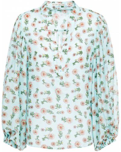 Плиссированная шелковая блузка мятная Alice + Olivia