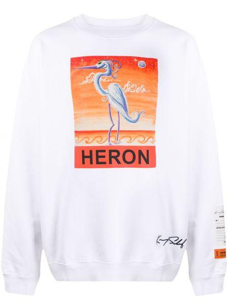 Biały bluza przeoczenie z długimi rękawami okrągły Heron Preston
