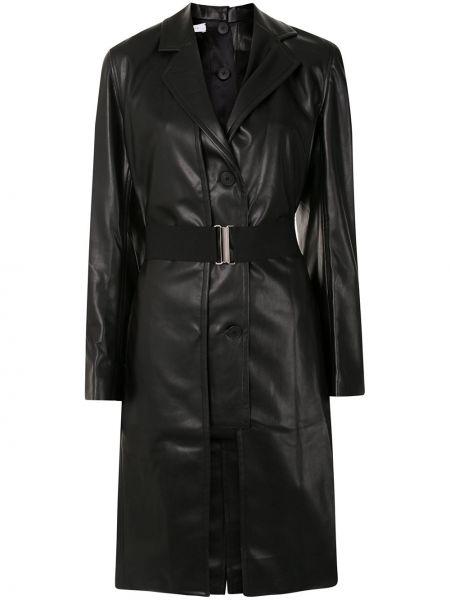 Черное прямое кожаное пальто с поясом на пуговицах Delada