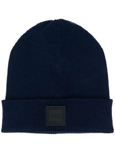 Шерстяная шапка бини - синяя Boss Hugo Boss