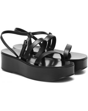 Кожаные туфли на платформе черные The Row