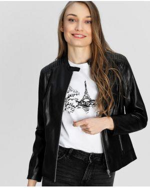 Приталенная сатиновая черная кожаная куртка на молнии Ostin