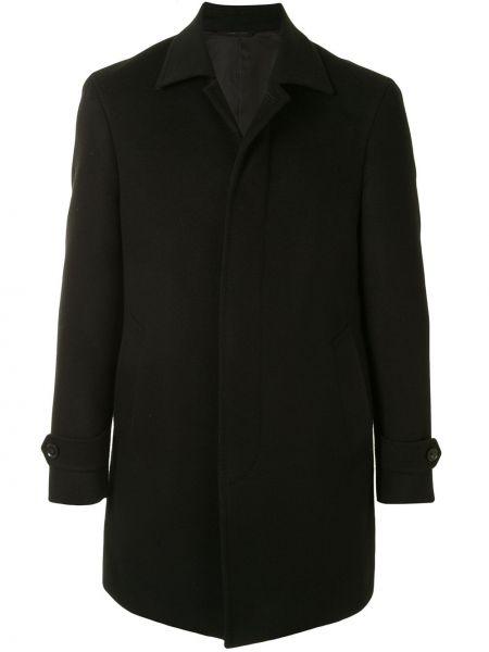 Черное однобортное шерстяное пальто с воротником D'urban