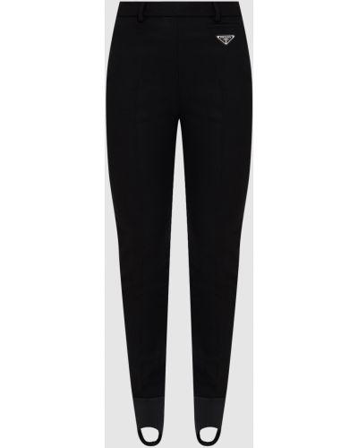 Черные шерстяные брюки Prada