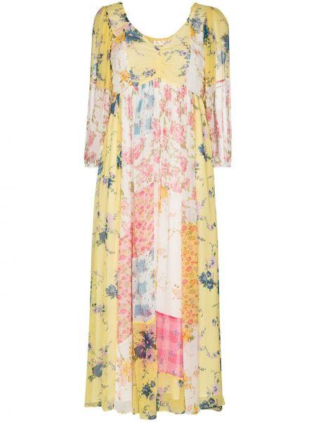 Желтое шелковое платье миди с V-образным вырезом с оборками Loveshackfancy