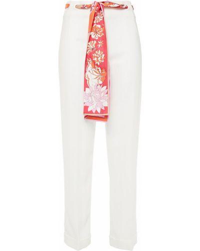 Шелковые белые укороченные брюки на крючках Emilio Pucci