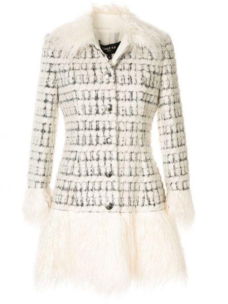 Шерстяное белое длинное пальто с капюшоном Paule Ka