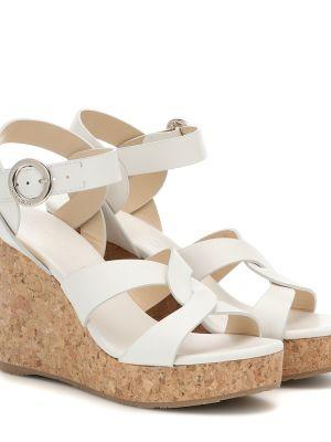 Biały skórzany sandały na platformie Jimmy Choo