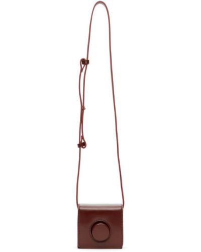Skórzany z paskiem torba kosmetyczna z łatami Lemaire