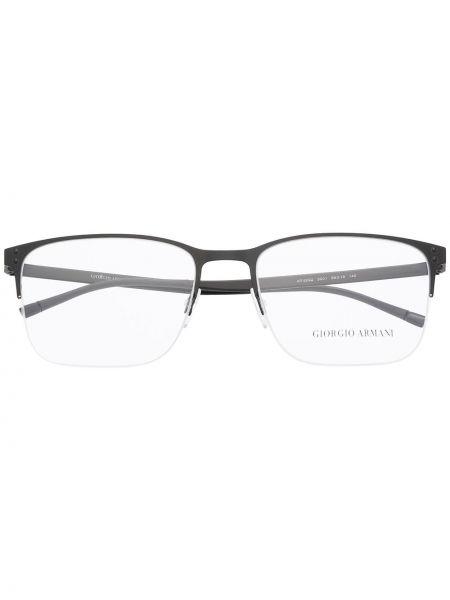 Czarny oprawka do okularów metal prostokątny Giorgio Armani