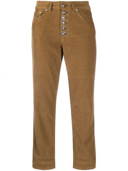 Коричневые укороченные брюки вельветовые на пуговицах Dondup
