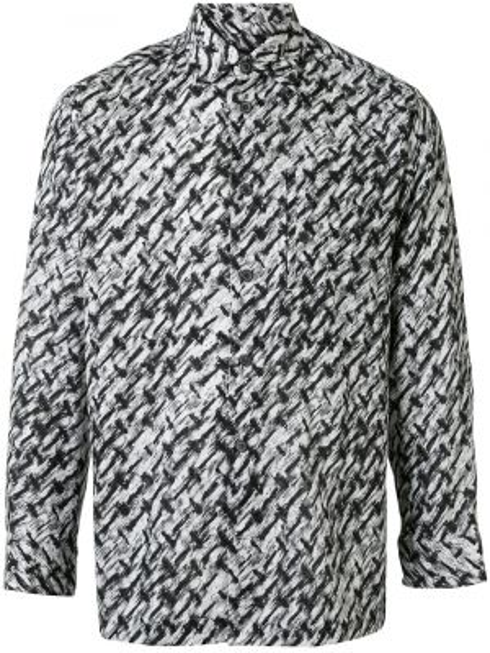 Черная прямая рубашка с воротником на пуговицах Issey Miyake Pre-owned